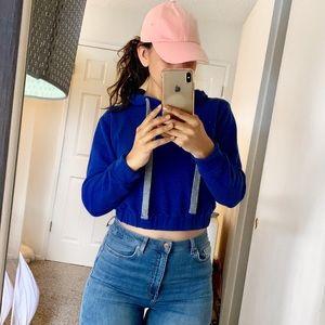 Crop Top Royal Blue Sweatshirt Pull String